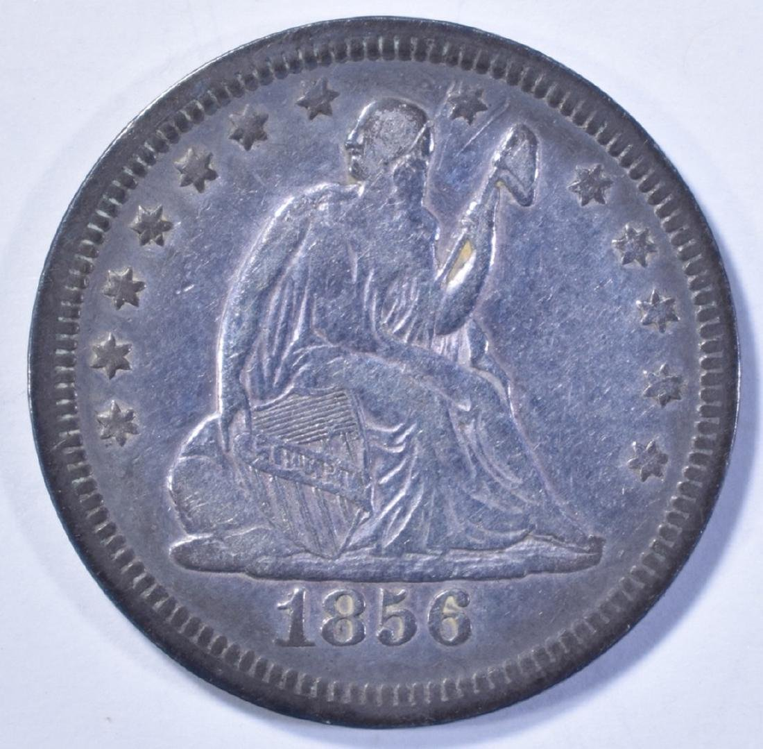 1856 SEATED LIBERTY QUARTER, XF