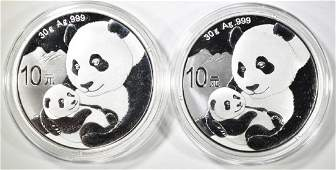 2-2019 1oz SILVER CHINESE PANDA COINS
