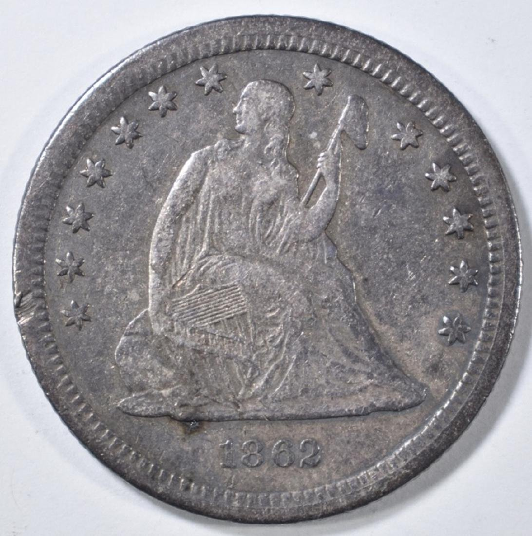 1862-S SEATED LIBERTY QUARTER   XF