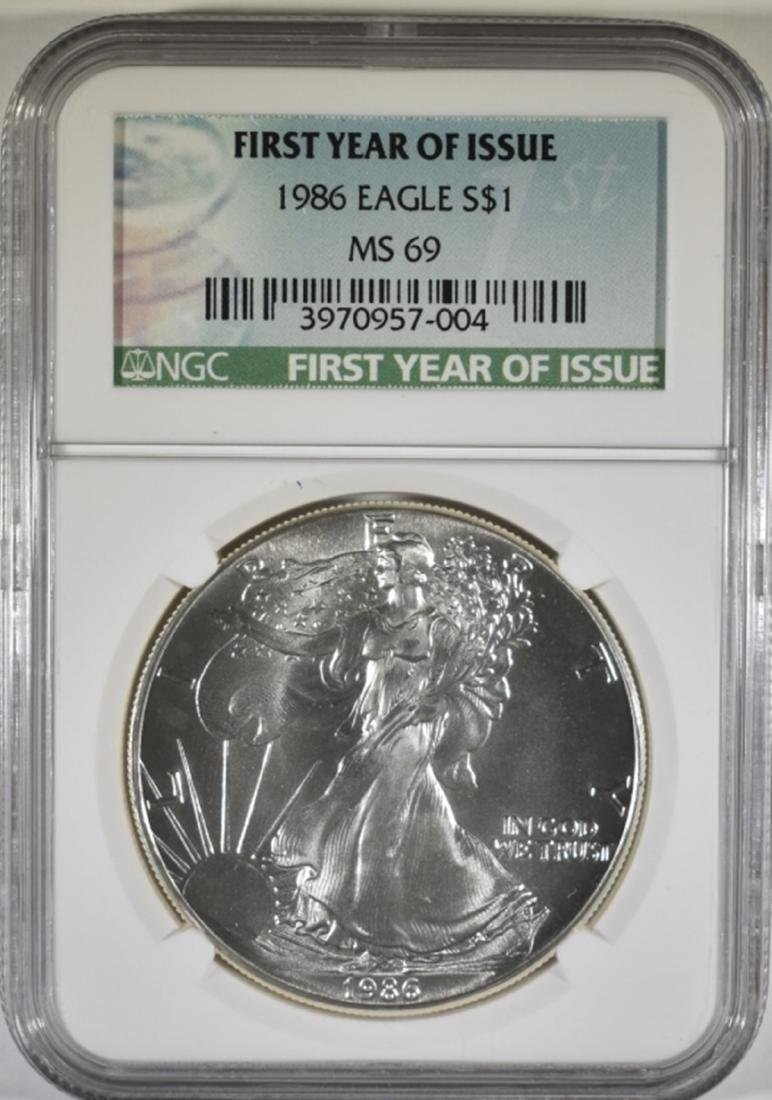 1986 AMERICAN SILVER EAGLE, NGC MS-69