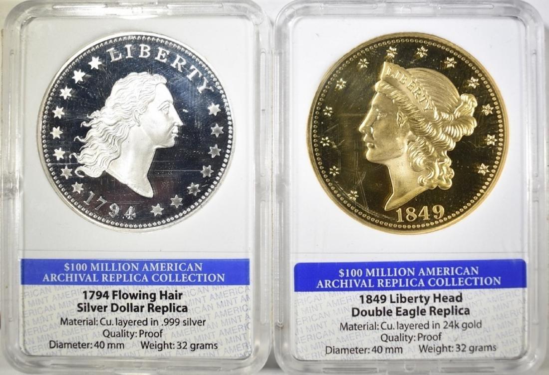 2 AMERICAN MINT ARCHIVAL REPLICA COINS: