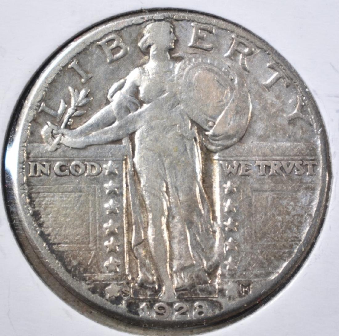 1928-S STANDING LIBERTY QUARTER,  XF