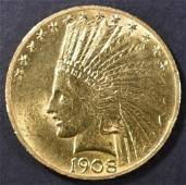 1908 $10 INDIAN W/MOTTO CH BU