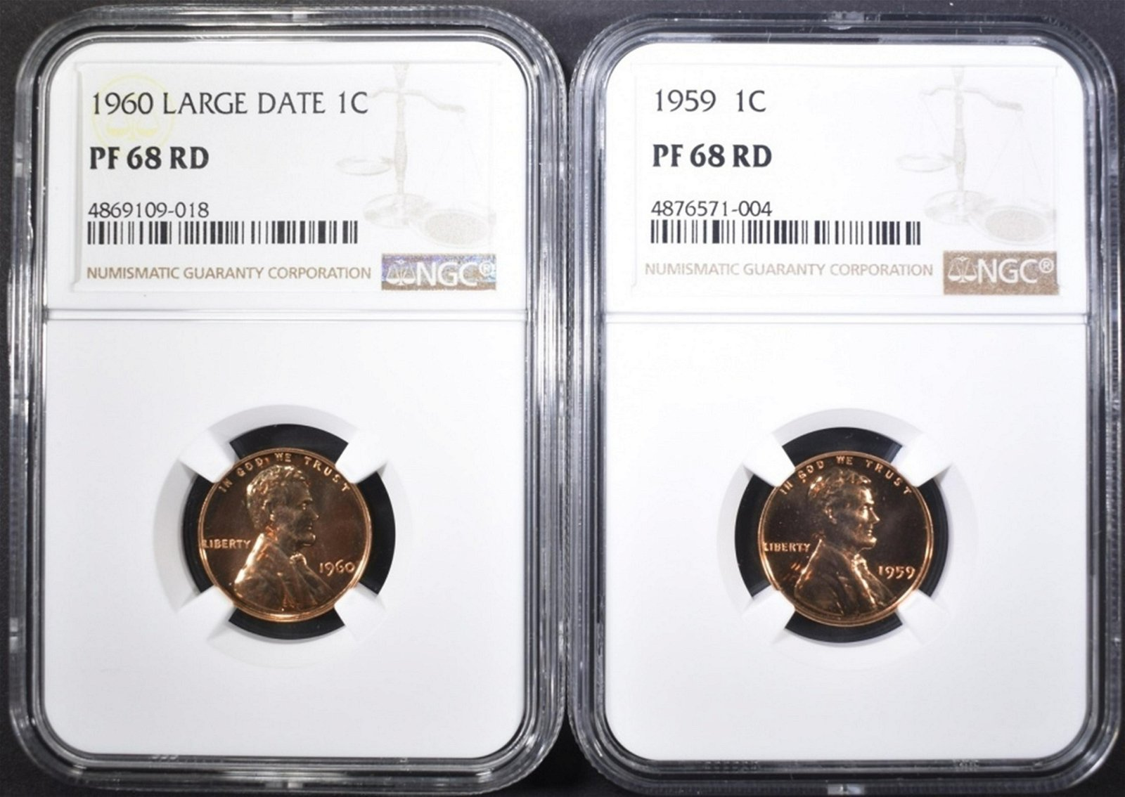 1959 & 60 LARGE DATE LINCOLN CENTS, NGC PF-68 RED