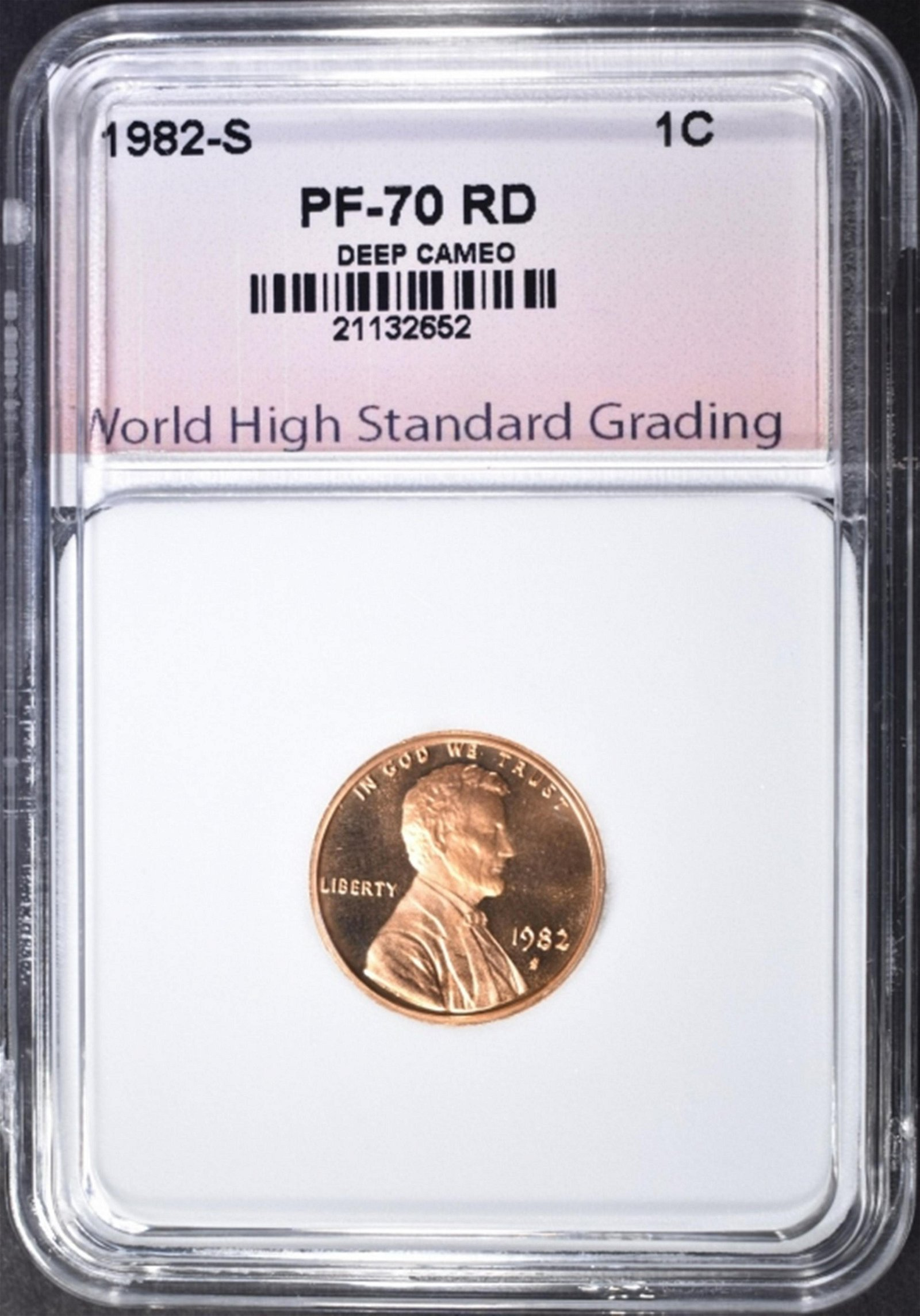 1982-S LINCOLN CENT, WSHG PERFECT GEM Pf RED