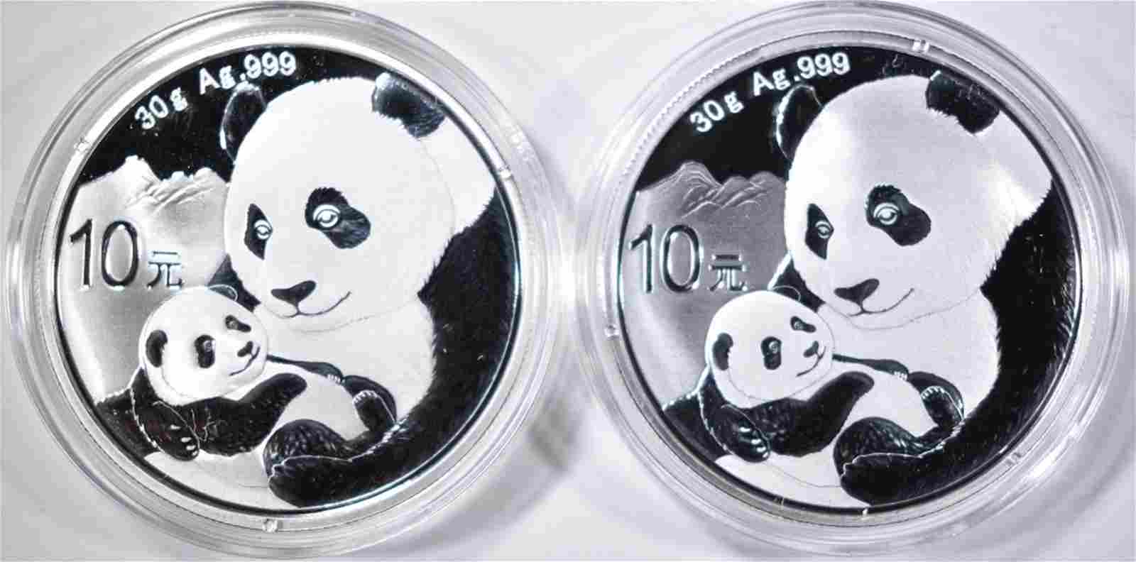 2-2019 CHINESE SILVER PANDA COINS