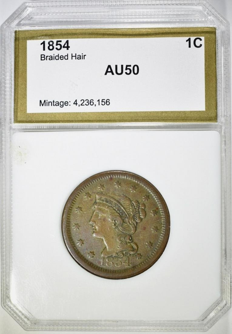 1854 BRAIDED HAIR LARGE CENT PCI AU