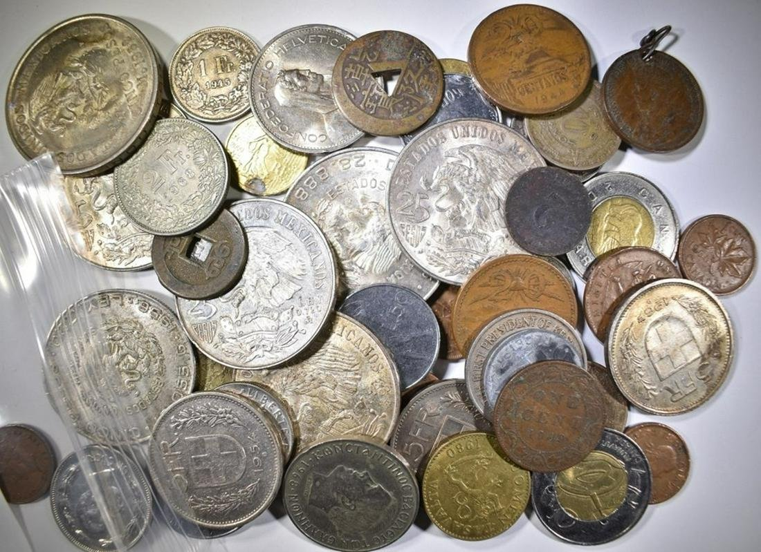 FOREIGN COIN LOT: WITH SILVER COINS