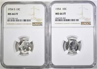1954-P&S ROOSEVELT DIMES, NGC MS-66 FT