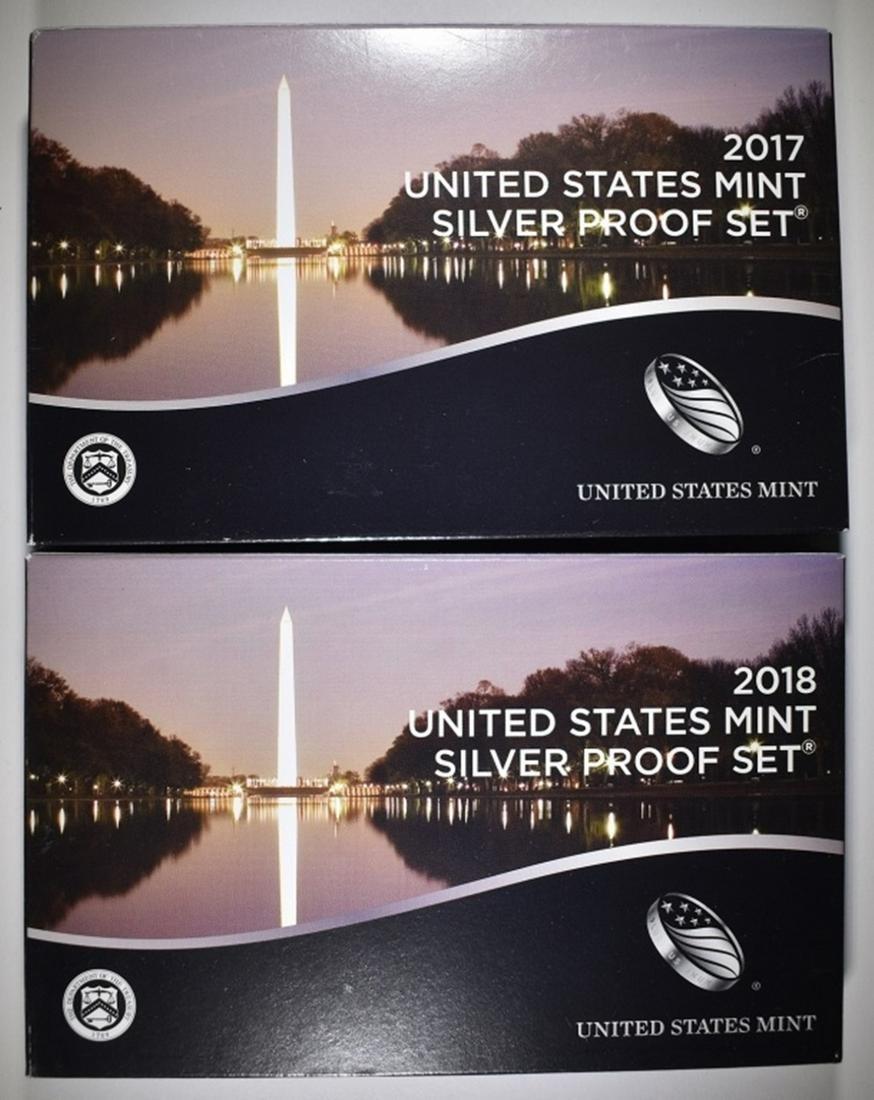 2017 & 2018 U.S. SILVER PROOF SETS ORIG PACKAGING