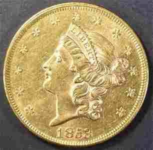 1853 $20 GOLD LIBERTY TYPE 1 CH BU