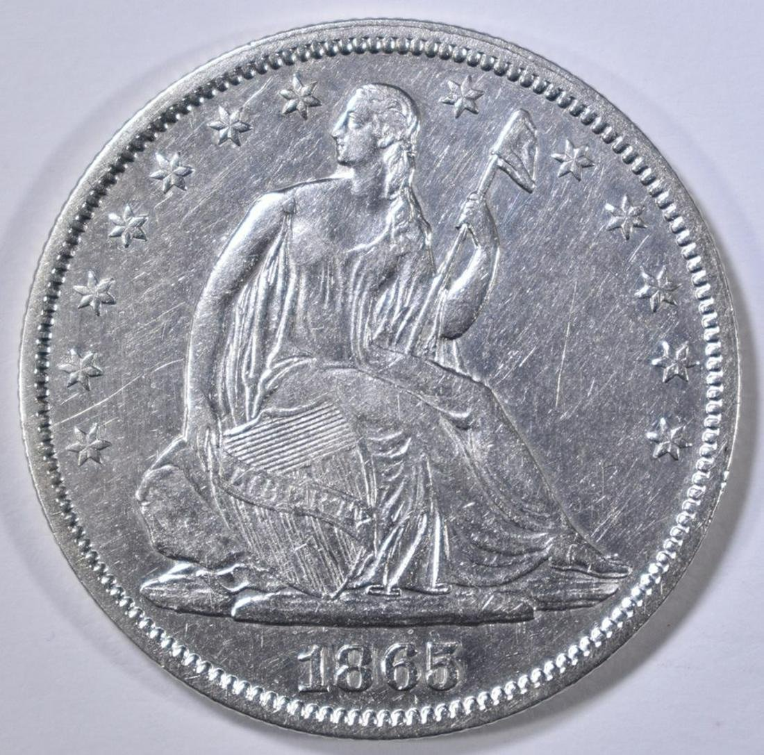 1865 SEATED LIBERTY HALF DOLLAR AU