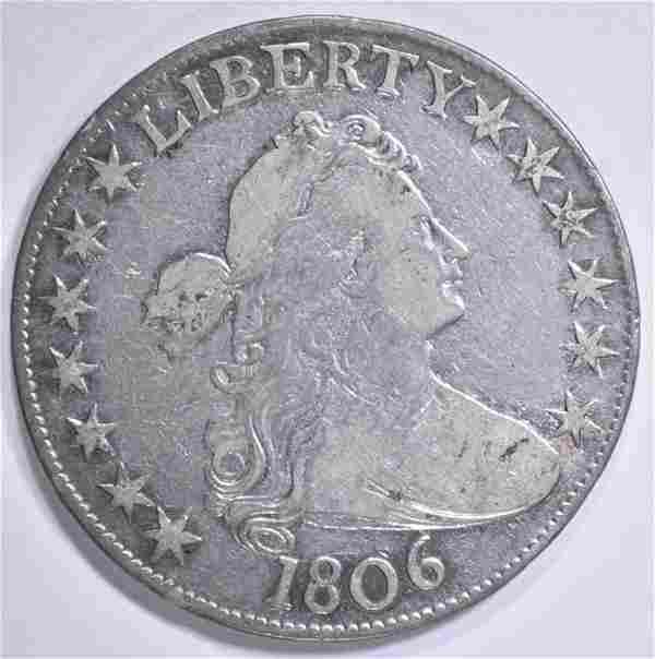1806 DRAPED BUST HALF DOLLAR XF