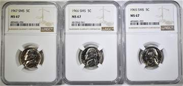 SET OF 1965 66 67 SMS NICKELS NGC MS67