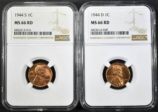 1944DS LINCOLN CENTS NGC MS66 RED