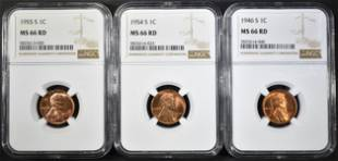 1946S 54S 55S LINCOLN CENTS NGC MS66 RED