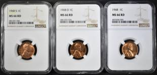 1968PDS LINCOLN CENTS NGC MS66 RED