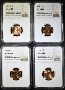 1984 84D 87 87D LINCOLN CENTS NGC MS66 RED
