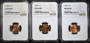 1987 88PD LINCOLN CENTS NGC MS66 RED