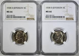 21938D JEFFERSON NICKLES NGC MS66
