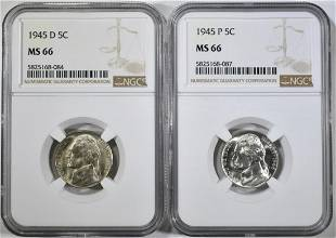 1945PD JEFFERSON NICKELS NGC MS66