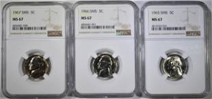1965 66 67 SMS JEFFERSON NICKELS NGC MS67