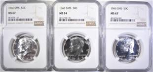 3 1966 SMS KENNEDY HALVES NGC MS 67