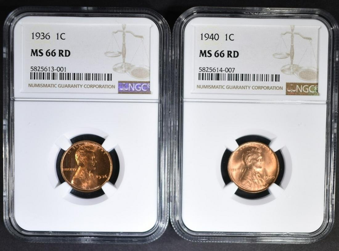 1936 & 1940 LINCOLN CENTS, NGC MS-66 RD