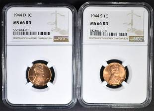 1944D 1944S LINCOLN CENTS NGC MS66 RED