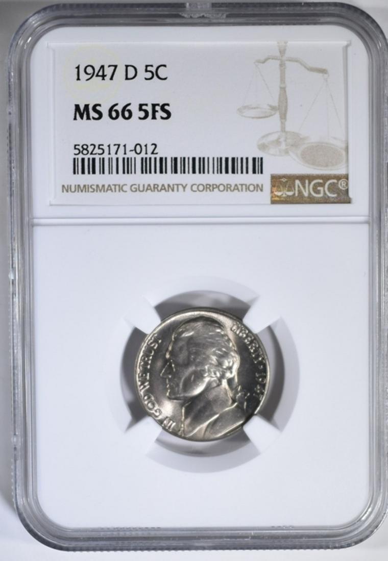 1947-D JEFFERSON NICKEL, NGC MS-66 5FS
