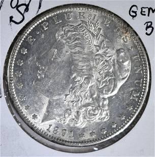 1891S MORGAN DOLLAR GEM BU