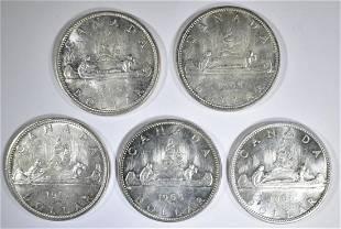 5BU 1965 CANADIAN SILVER DOLLARS