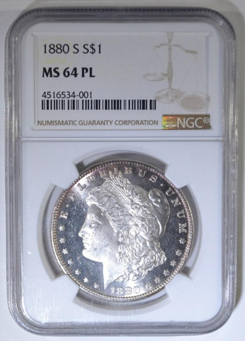 1880-S MORGAN DOLLAR, NGC MS-64 PL