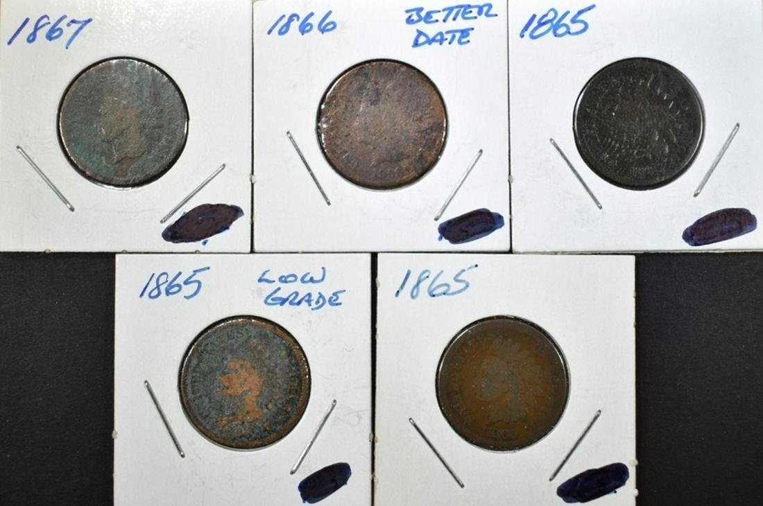 3 1865, 66, 67 INDIAN CENTS LOW GRADE,  PROBLEMS
