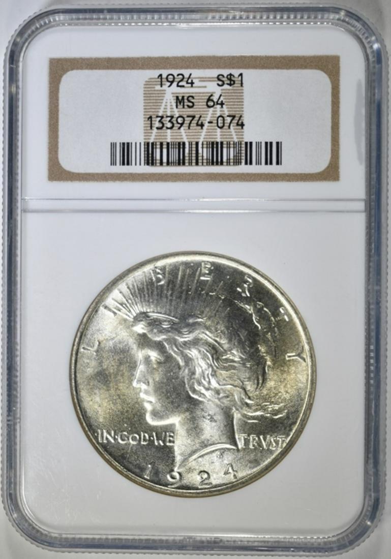 1924 PEACE DOLLAR, NGC MS-64