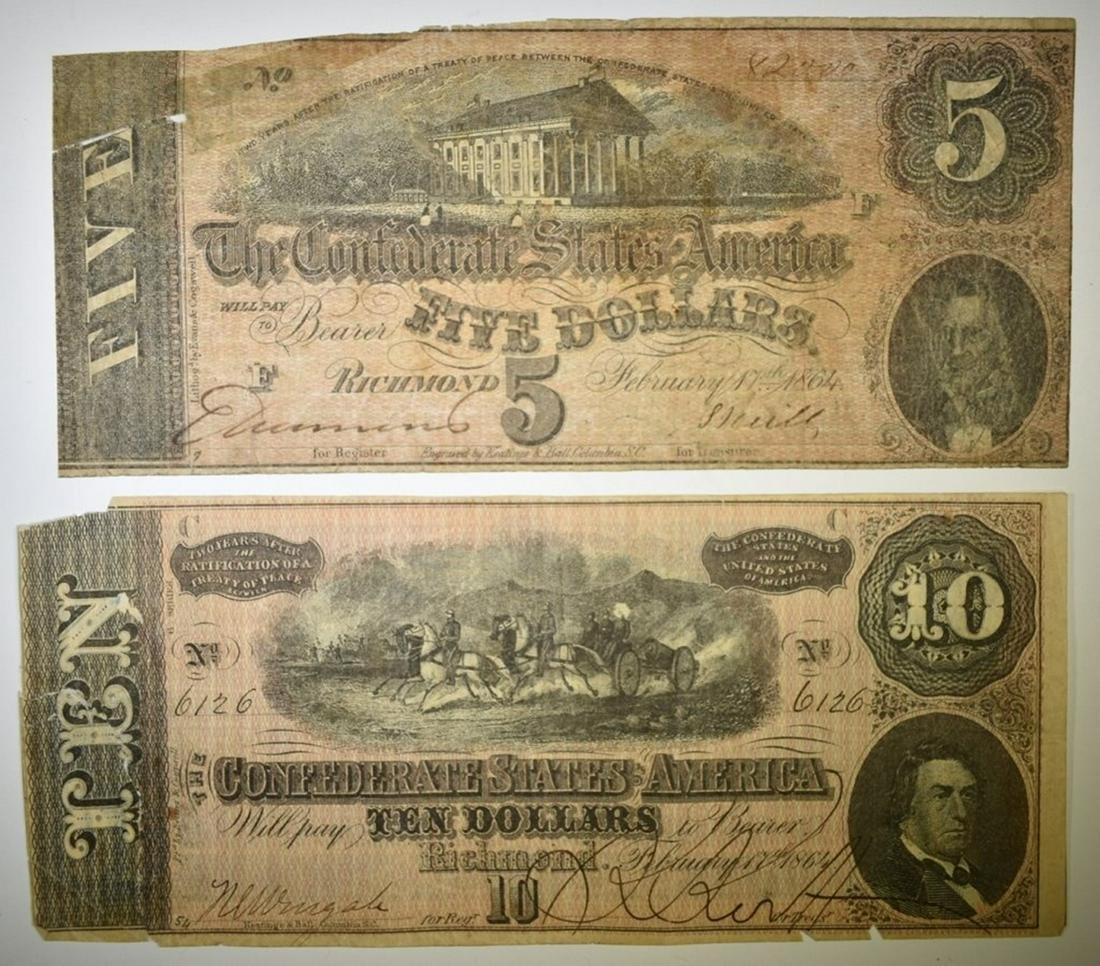 1864 $5 & $10 CONFEDERATE NOTES, LOW GRADE