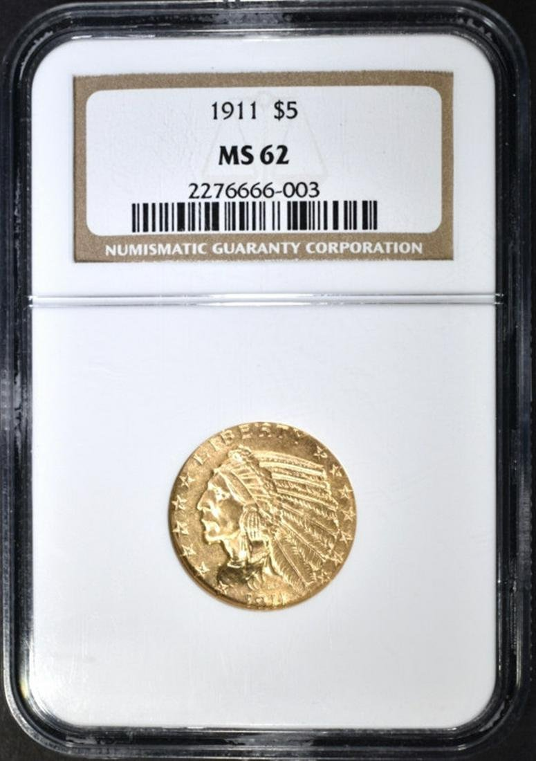1911 $5 GOLD INDIAN NGC MS-62