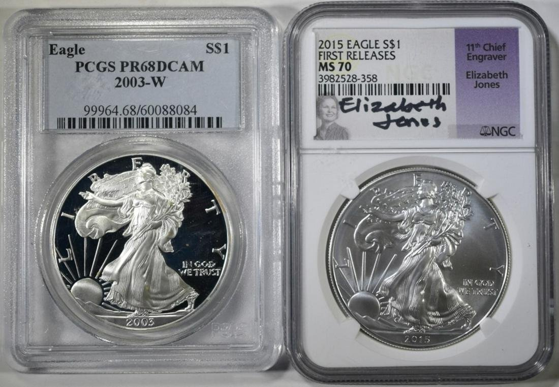 LOT OF 2 GRADED AMERICAN SILVER EAGLES: