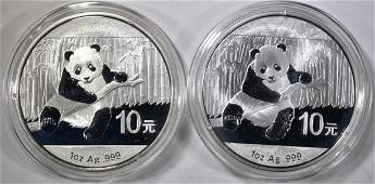 22014 1Oz CHINESE SILVER PANDA COINS