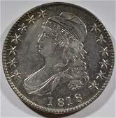 1818 BUST HALF DOLLAR CH AU LIGHT CLEANING