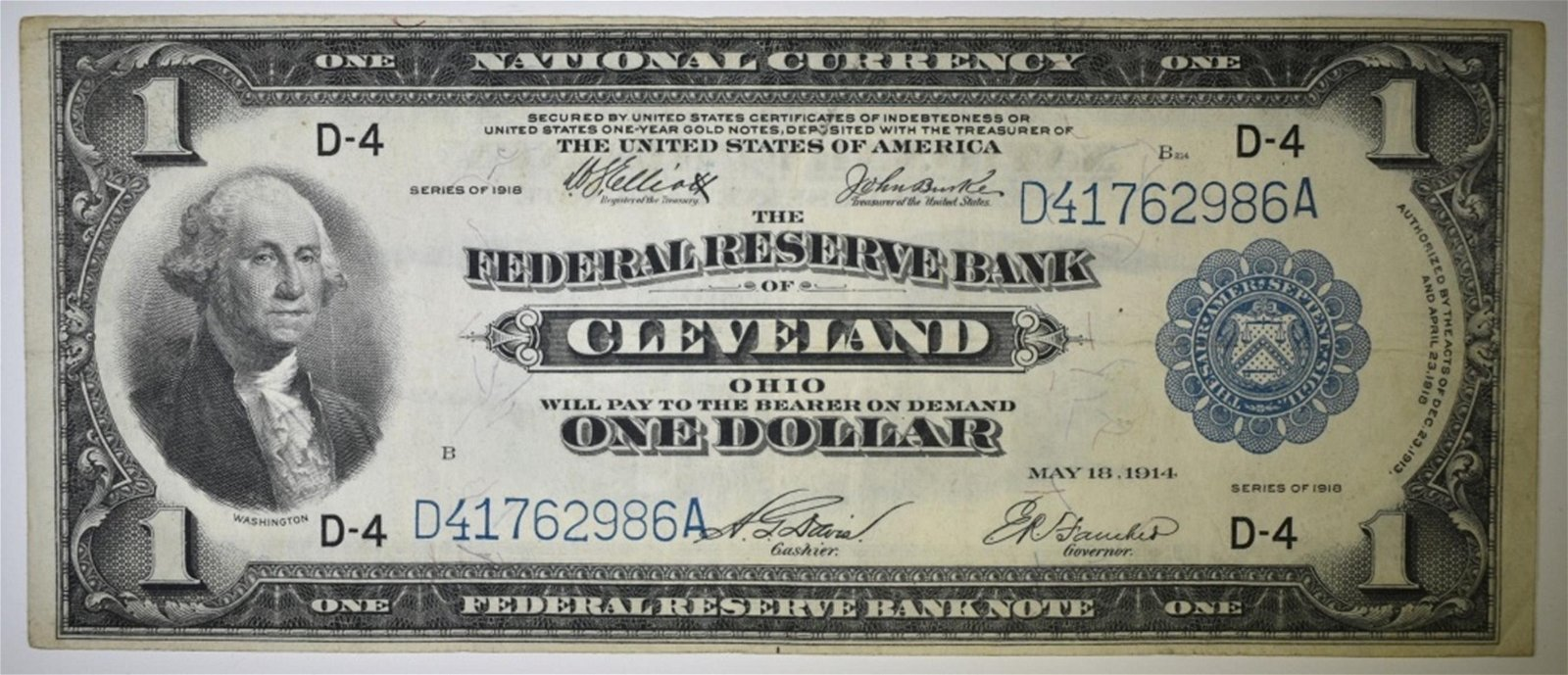 1918 FEDERAL RESERVE BANK OF CLEVELAND $1