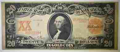 1906 $20 GOLD CERTIFICATE FINE, PIN HOLES
