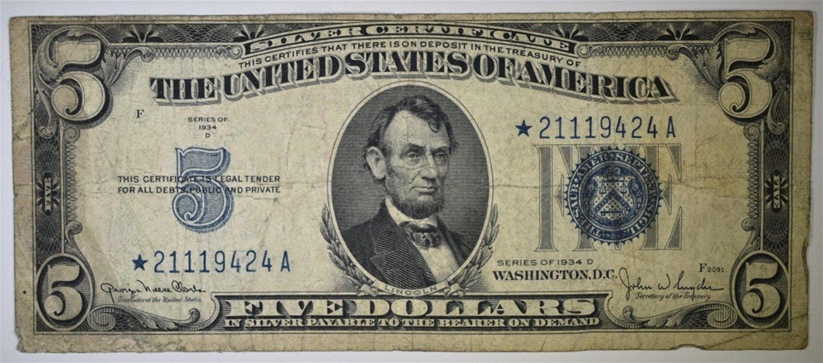 1934-D $5 SILVER CERTIFICATE STAR NOTE
