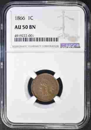 1866 INDIAN CENT NGC AU50 BN