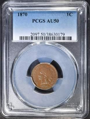 1870 INDIAN CENT PCGS AU50
