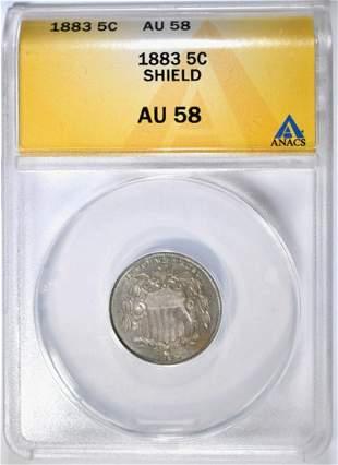 1883 SHIELD NICKEL ANACS AU58