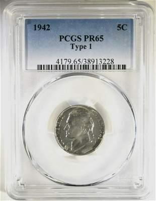 1942 TYPE 1 JEFFERSON NICKEL PCGS PR65