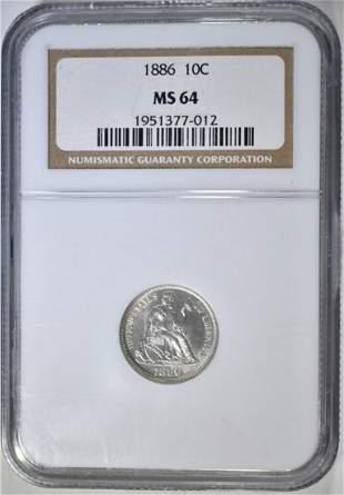 1886 SEATED LIBERTY DIME NGC MS64