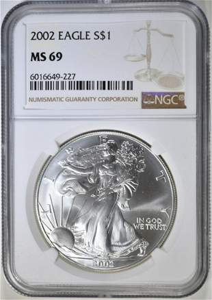 2002 AMERICAN SILVER EAGLE NGC MS69