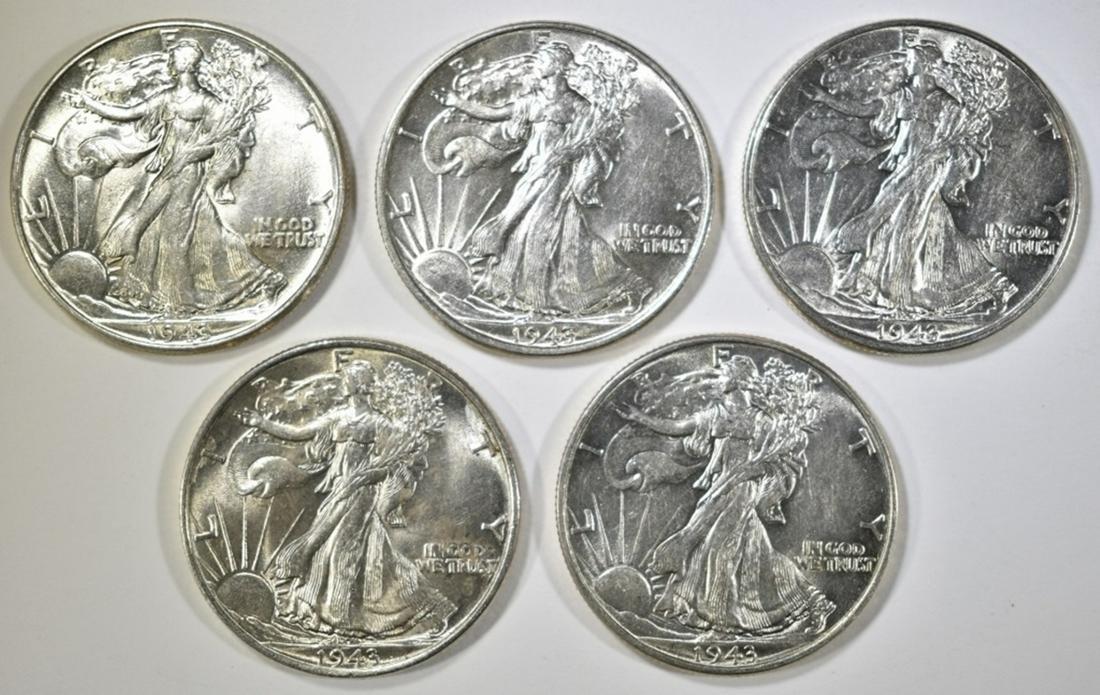 5-CH AU 1943 WALKING LIBERTY HALF DOLLARS